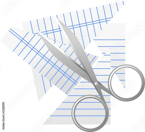 Illustration of scissors with cut paper