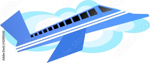 Illustration of passenger train in air