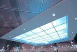colorful transparent ceiling inside contemporary airport