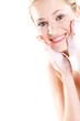 pretty woman wash face with foam