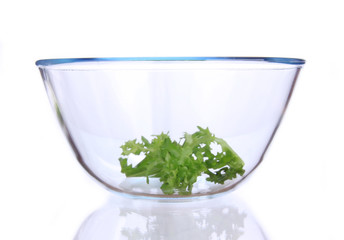 Fresh salad in a glass bowl