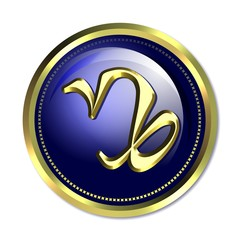 Capricorn astrological symbol. Golden glyph on blue background,
