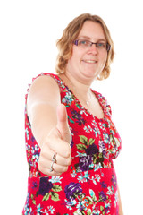 woman with thumbs up over white background