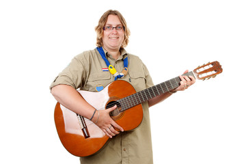 Dutch female scout with guitar