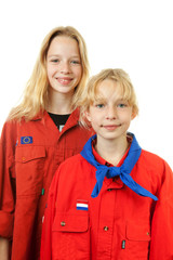 Two Dutch scout girls over white background