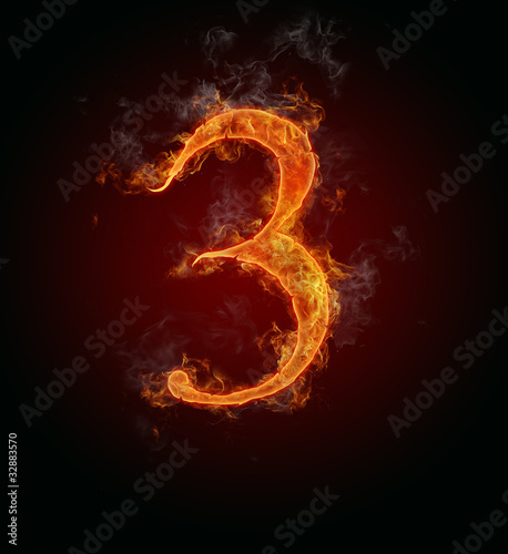 "Burning fire number ""3"""