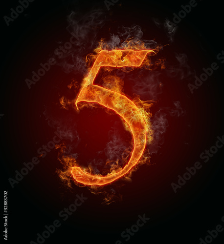 "Burning fire number ""5"""