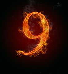 "Burning fire number ""9"""