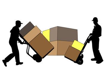 Männer transportieren Kisten
