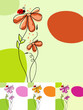 Cute floral background in various colors