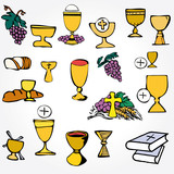 Set of Illustration communion depicting traditional Christian