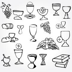 Set of Illustration communion depicting traditional Christian