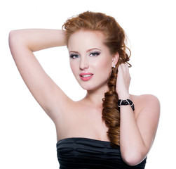 sensual young red-haired woman with bright glamour make-up