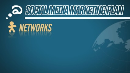 Social Media Marketing Plan video illustration on blue in HD