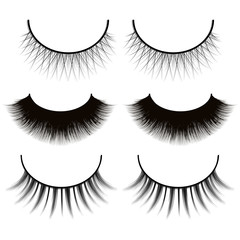 set of eyelashes isolated on white background