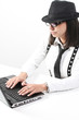 female using a laptop on white background