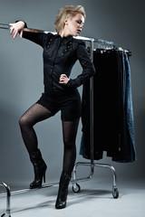 Woman in dress room