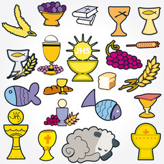 set of Illustration communion traditional Christian symbols