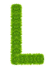 green grass letter L Isolated