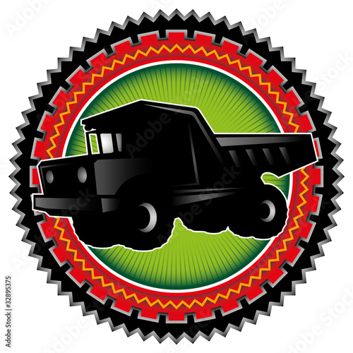 Illustrated label with big truck.