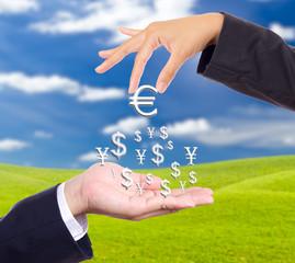 hand bring up big euro sign
