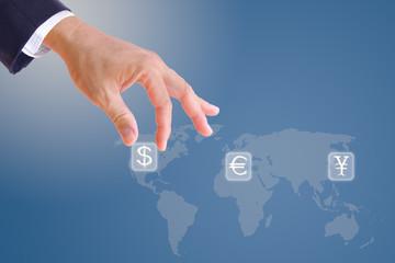business man hand bring up dollar sign button
