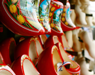 background of wooden shoes