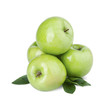 Group of green apples with a leaf on a white background