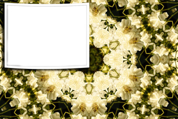 Frame with white flowers