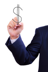 business man hand drawing dollar sign isolated