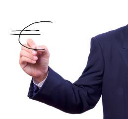 business man hand writing euro sign