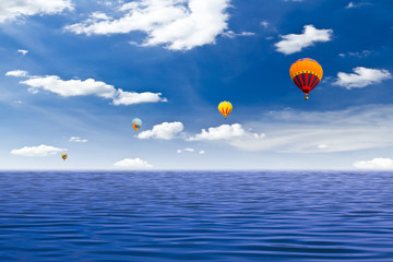 colorful hot air balloon on the sea