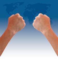 fist hand on world map background