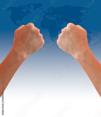 fist hand on world map background
