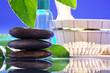 Steine im Wasser mit Massage Öl im Hintergrund, quer
