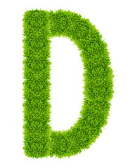 green grass letter D Isolated