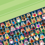 Crowd. An elevated view of sports spectators. poster