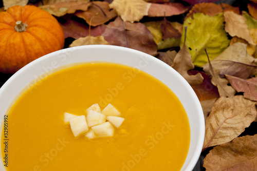 Butternut Squash, Apple and Ginger Soup WIth Pumpkin