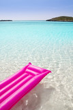 beach floating lounge pink tropical sea Formentera
