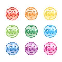 カラフルな500円硬貨