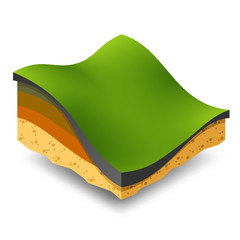 Isometric green hills and meadows