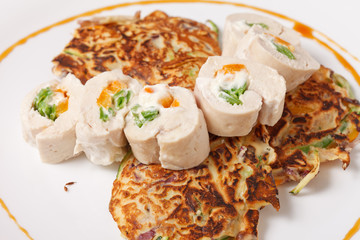 vegetable pancakes with chicken fillet