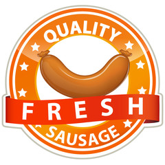 quality fresh sausage sign isolated on white background