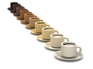 3d Row of coffee cups