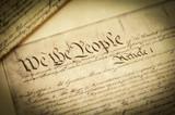 Closeup of a replica of U.S. Constitution document poster