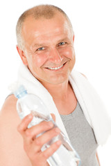 Happy senior man fitness hold water bottle
