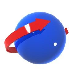 Freccia rossa intorno a globo azzurro