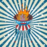 Patriotic radial barbeque background