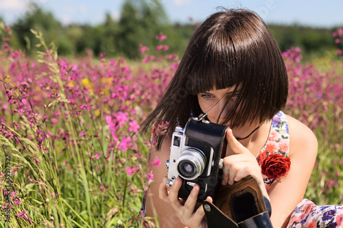 girl  with old camera.