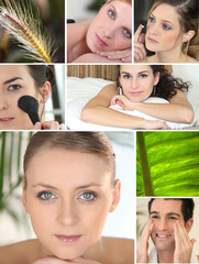 Mosaic of various cosmetic treatments